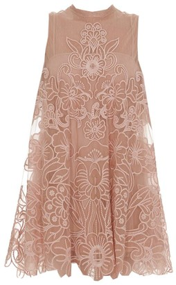 RED Valentino Embroidered A-Line Mini Dress