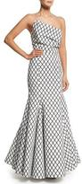 Rachel Gilbert Aria Diamond-Print Mermaid Gown, Black/White