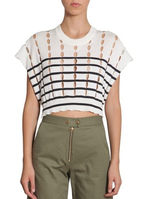 T By Alexander Wang Striped Slit Top