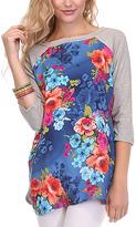 Cobalt & Heather Gray Floral Raglan Tunic - Plus Too