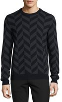 Theory Herrigs Chevron Crewneck Sweater, Eclipse