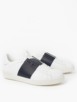 Valentino White Contrast Stripe Leather Sneakers
