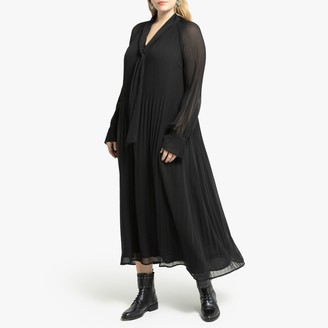 La Redoute Collections Plus Pussy-Bow Maxi Dress with Long Transparent Sleeves