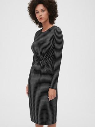 Gap Metallic Stripe Twist-Knot Midi Dress