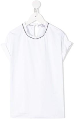 BRUNELLO CUCINELLI KIDS bead-collar T-shirt