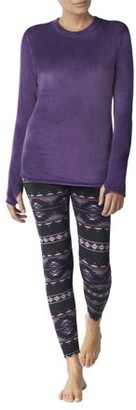 Climateright By Cuddl Duds ClimateRight Women's Stretch Luxe Velour 2-Piece Warm Long Underwear Top and Legging Set