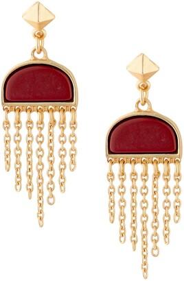 Jardin Pyramid Stud Semi Precious Half Circle Red Turquoise Stone Chain Tassel Drop Earrings