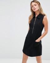 Only Retro Zip Front Denim Dress