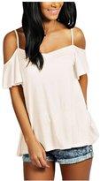 CutyKids Women's Off Shoulder Flounce Sleeve Sling Swing Top Blouse Shirt M
