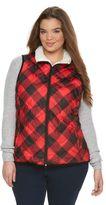 Juniors' Plus Size SO® Sherpa Plaid Puffer Vest