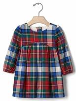 Gap Plaid flannel shirred dress