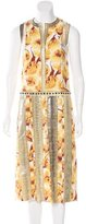 Bottega Veneta Sleeveless Snakeskin-Trimmed Dress