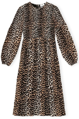 Ganni Printed Georgette Ruched Front Dress in Leopard