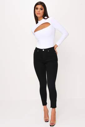 I SAW IT FIRST Black Basic Frayed Hem Skinny Jeans