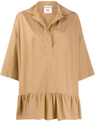 Semi-Couture Swing-Style Ruffle-Hem Blouse