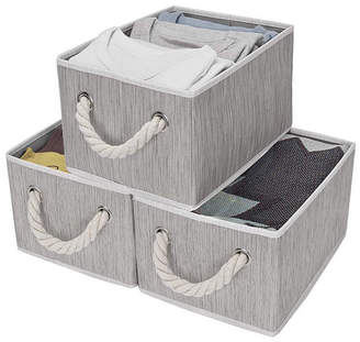 StorageWorks Foldable Fabric Storage Bin with Cotton Rope Handles 2-Pack