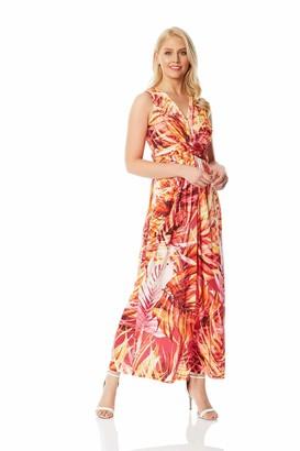 Roman Originals Women Tropical Print Twist Front Maxi Dress - Ladies Summer Occasion Party Casual Holiday Bohemian Boho Beach Evening Long Floor Length Sleeveless V Neck - Black - Size 10