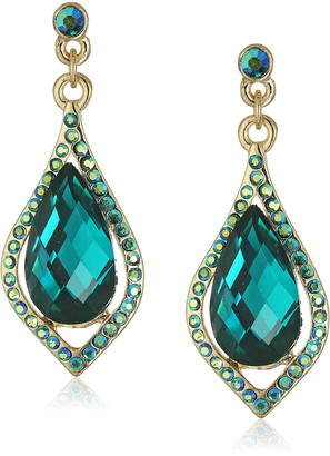 1928 Jewelry Gold-Tone Green with Black AB Caged Briolette Drop Earrings