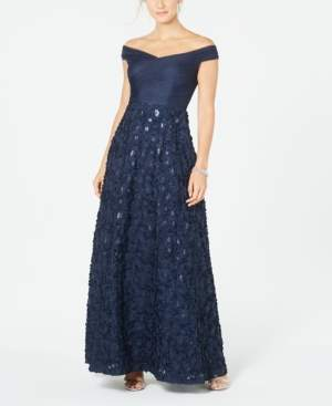 Adrianna Papell Off-The-Shoulder Floral Gown