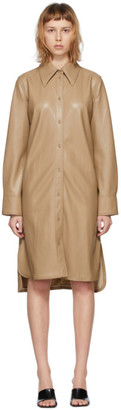 Stand Studio Taupe Faux-Leather Remi Dress