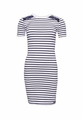 Superdry Eden Lace Mix Dress White Stripe - White - 10