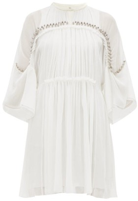 Chloé Embellished Plisse Silk Chiffon Mini Dress - Womens - Ivory