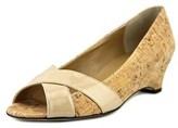 VANELi Blanca Women Us 9 W Tan Peep Toe Wedge Heel.