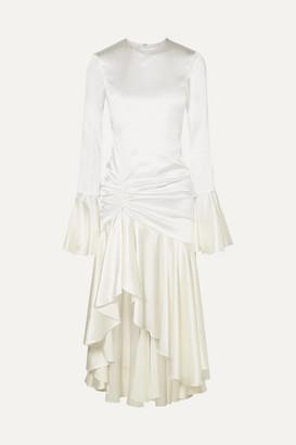 Caroline Constas Monique Ruched Stretch-silk Satin Gown - White