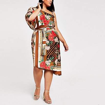 River Island Plus brown print one shoulder midi dress