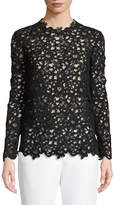 Valentino Long-Sleeve Crocheted-Lace Blouse