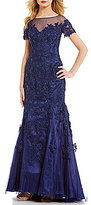 MGNY Madeline Gardner New York Short Sleeve Lace Applique Gown