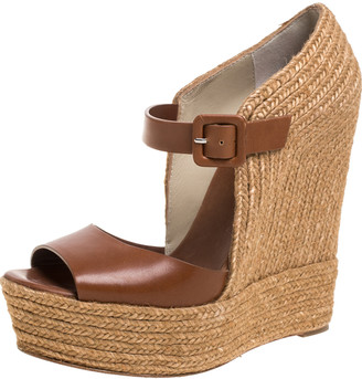 Christian Louboutin Brown Leather And Jute Praia Wedge Espadrille Platform Ankle Strap Sandals Size 39
