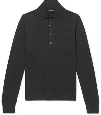 Tom Ford Slim-Fit Melange Wool Polo Shirt