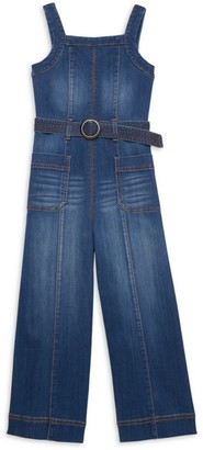 Habitual Girl's Front Pocket Denim Jumpsuit