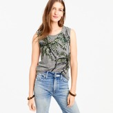 J.Crew Muscle tank top in sequin palm trees