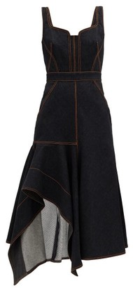 Alexander McQueen Contrast-stitch Asymmetric Denim Dress - Black