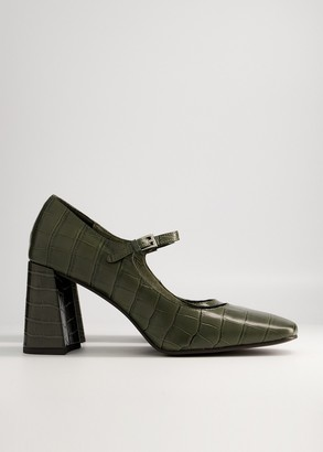 Croco NEED Women's Romi Heel in Khaki Croco, Size 6   Leather