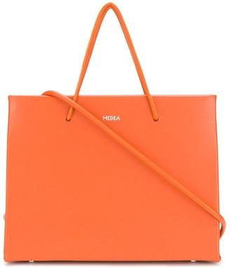 Medea Logo Print Leather Tote Bag