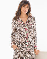 Soma Intimates Long Sleeve Notch Collar Pajama Top Textured Cat Deep Taupe