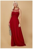 Thumbnail for your product : Little Mistress Grace Bridesmaid Red Embellishment Sweetheart Maxi Dress