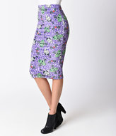 Iron Fist Purple Cheetah Velvet Back From the Dead Pencil Skirt