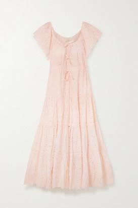 Innika Choo Alotta Gud Tiered Broderie Anglaise Cotton Maxi Dress - Pastel pink