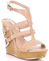 Gianni Bini Emiras Leather Metal Detail Platform Wedge Sandals
