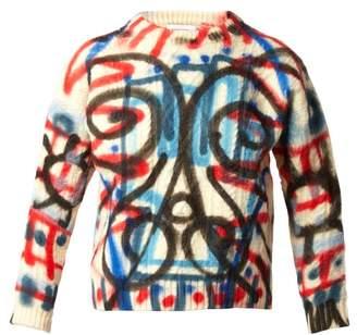 Charles Jeffrey Loverboy Spray-paint Aran-knit Wool Sweater - Womens - Cream Multi