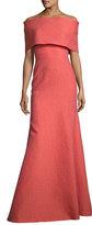 Lela Rose Off-Shoulder Matelasse Gown, Coral