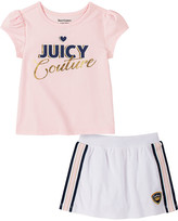 Juicy Couture Girls' Casual Shorts 2101 - Light Pink & Gold Heart Cap-Sleeve Skort Set - Infant, Toddler & Girls