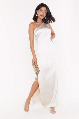 Nasty Gal Womens One Shoulder Maxi Satin Dress - tan - 8
