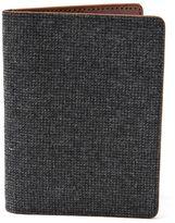 Frank & Oak Wool Tweed & Leather Passport Sleeve in Charcoal