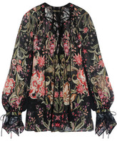 Roberto Cavalli Galaxy Lace-trimmed Printed Silk-georgette Blouse - Black
