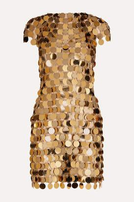 Paco Rabanne Embellished Metallic Mini Dress - Gold